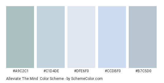 Alleviate the Mind - Color scheme palette thumbnail - #A9C2C1 #C1D4DE #DFE6F0 #CCDBF0 #B7C5D0