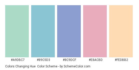 Colors Changing Hue - Color scheme palette thumbnail - #A9DBC7 #89C5D3 #8C9DCF #E8ACBD #FEDBB2