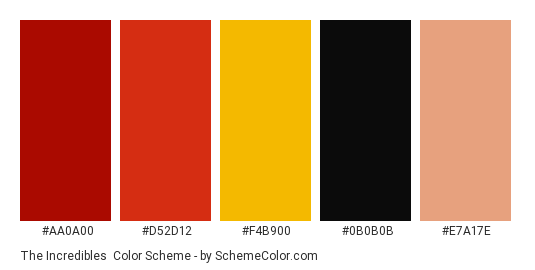 The Incredibles - Color scheme palette thumbnail - #AA0A00 #D52D12 #F4B900 #0B0B0B #E7A17E