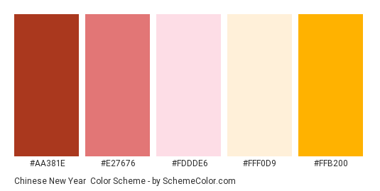 Chinese New Year - Color scheme palette thumbnail - #AA381E #E27676 #FDDDE6 #FFF0D9 #FFB200