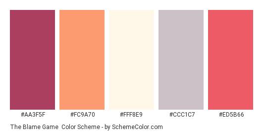 The Blame Game - Color scheme palette thumbnail - #AA3F5F #FC9A70 #fff8e9 #CCC1C7 #ED5B66