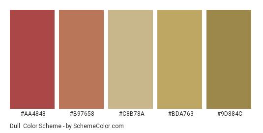 Dull - Color scheme palette thumbnail - #AA4848 #B97658 #C8B78A #BDA763 #9D884C