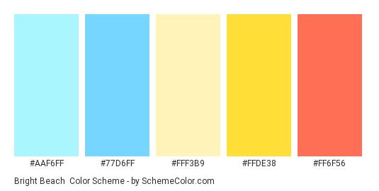 Bright Beach - Color scheme palette thumbnail - #AAF6FF #77D6FF #FFF3B9 #FFDE38 #FF6F56
