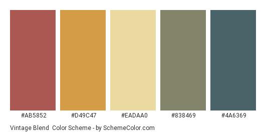 Vintage Blend - Color scheme palette thumbnail - #AB5852 #D49C47 #EADAA0 #838469 #4A6369