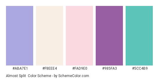 Almost Split - Color scheme palette thumbnail - #ABA7E1 #F8EEE4 #FAD9E0 #985FA3 #5CC4B9