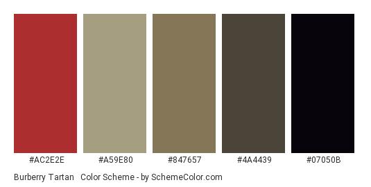 Burberry Tartan #2 (Dull) - Color scheme palette thumbnail - #AC2E2E #A59E80 #847657 #4a4439 #07050b