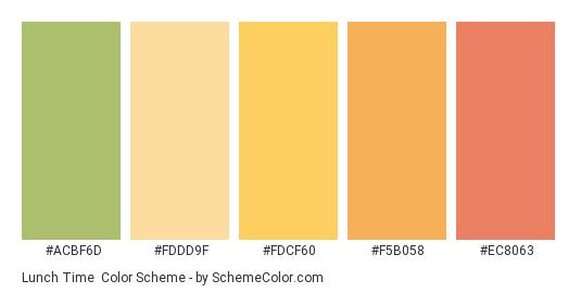 Lunch Time - Color scheme palette thumbnail - #ACBF6D #FDDD9F #FDCF60 #F5B058 #EC8063