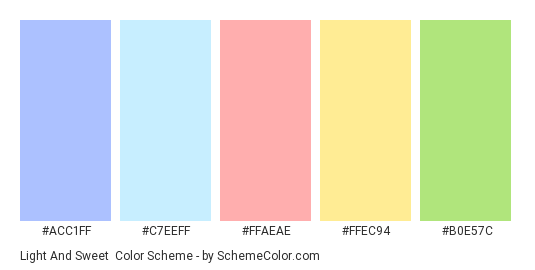 Light and Sweet - Color scheme palette thumbnail - #ACC1FF #C7EEFF #FFAEAE #FFEC94 #B0E57C