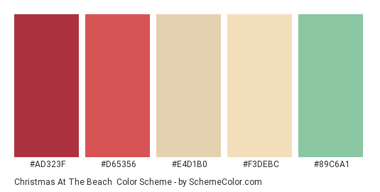 Christmas at the Beach - Color scheme palette thumbnail - #AD323F #D65356 #E4D1B0 #F3DEBC #89C6A1