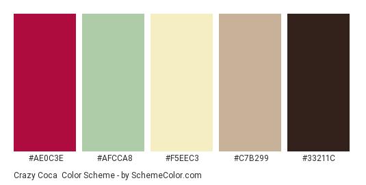 Crazy Coca - Color scheme palette thumbnail - #AE0C3E #AFCCA8 #F5EEC3 #C7B299 #33211C