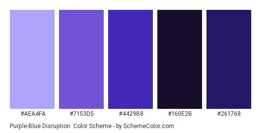 Purple-Blue Disruption - Color scheme palette thumbnail - #AEA4FA #7153D5 #4429B8 #160E2B #261768