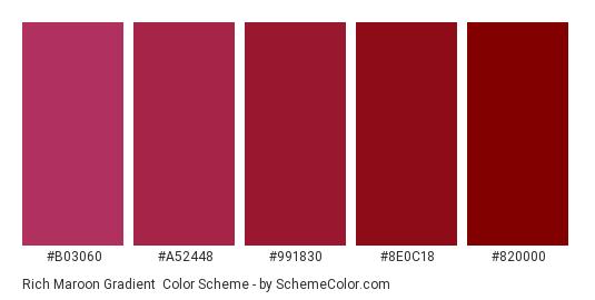 Rich Maroon Gradient - Color scheme palette thumbnail - #B03060 #A52448 #991830 #8E0C18 #820000