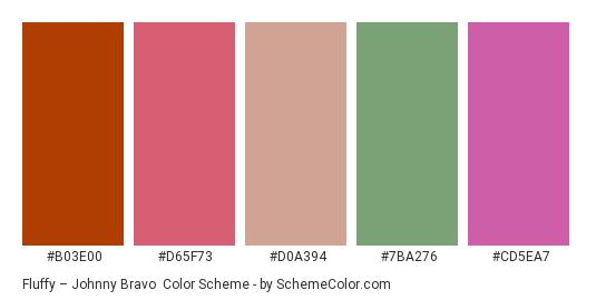 Fluffy – Johnny Bravo - Color scheme palette thumbnail - #B03E00 #D65F73 #D0A394 #7BA276 #CD5EA7