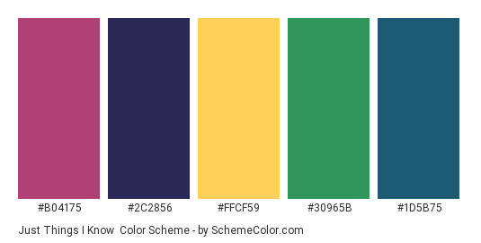 Just Things I Know - Color scheme palette thumbnail - #B04175 #2C2856 #FFCF59 #30965B #1D5B75