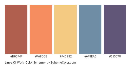 Lines of Work - Color scheme palette thumbnail - #B05F4F #F68D5E #F4C982 #6F8EA6 #615578