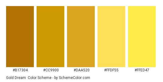Gold Dream - Color scheme palette thumbnail - #B17304 #CC9900 #DAA520 #FFDF55 #FFED47
