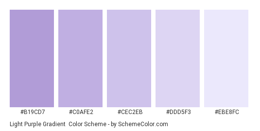 Light Purple Gradient - Color scheme palette thumbnail - #B19CD7 #C0AFE2 #CEC2EB #DDD5F3 #EBE8FC
