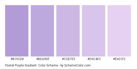 Pastel Purple Gradient - Color scheme palette thumbnail - #B19CD8 #BEA9DF #CCB7E5 #D9C4EC #E6D1F2