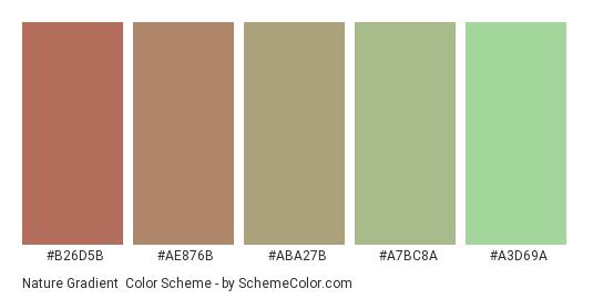 Nature Gradient - Color scheme palette thumbnail - #B26D5B #AE876B #ABA27B #A7BC8A #A3D69A