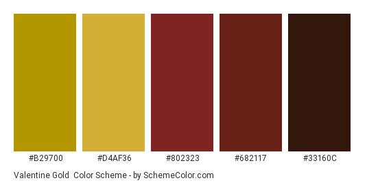 Valentine Gold - Color scheme palette thumbnail - #B29700 #D4AF36 #802323 #682117 #33160C