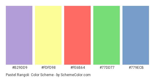 Pastel Rangoli - Color scheme palette thumbnail - #B29DD9 #FDFD98 #FE6B64 #77DD77 #779ECB