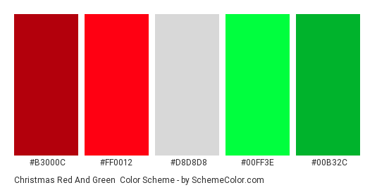 christmas red and green color scheme palette thumbnail b3000c ff0012 d8d8d8 - Why Are Red And Green Christmas Colors