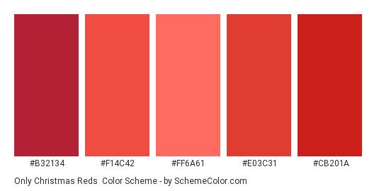 Only Christmas Reds - Color scheme palette thumbnail - #B32134 #F14C42 #FF6A61 #E03C31 #CB201A