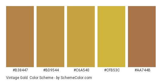Vintage Gold - Color scheme palette thumbnail - #B38447 #BD9544 #C6A540 #CFB53C #AA744B