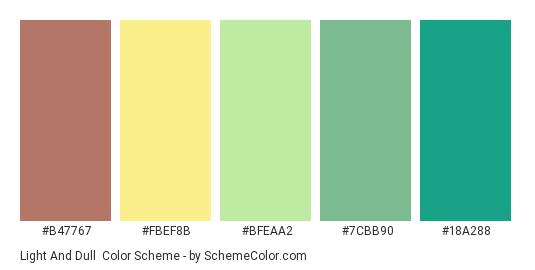Light and Dull - Color scheme palette thumbnail - #B47767 #FBEF8B #bfeaa2 #7cbb90 #18a288
