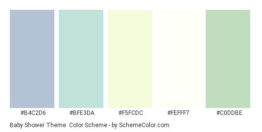Baby Shower Theme - Color scheme palette thumbnail - #B4C2D6 #BFE3DA #F5FCDC #FEFFF7 #C0DDBE