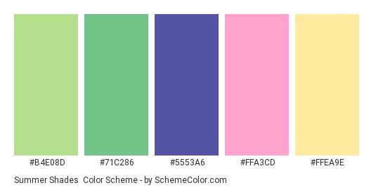 Summer Shades - Color scheme palette thumbnail - #B4E08D #71C286 #5553A6 #FFA3CD #FFEA9E