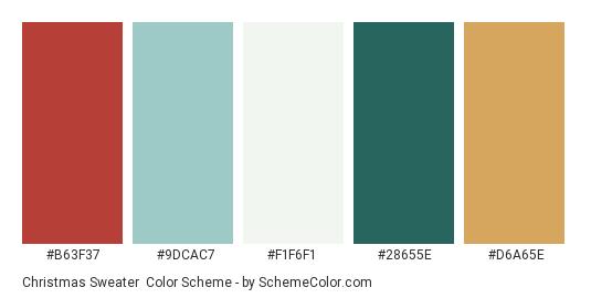 Christmas Sweater - Color scheme palette thumbnail - #B63F37 #9DCAC7 #F1F6F1 #28655E #D6A65E