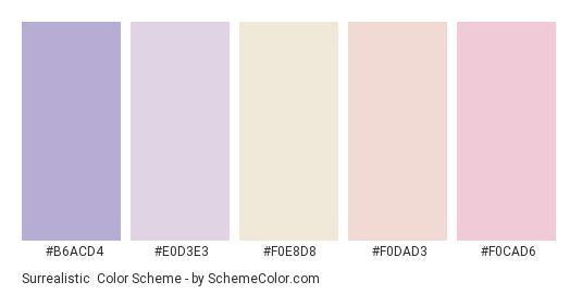 Surrealistic - Color scheme palette thumbnail - #B6ACD4 #E0D3E3 #F0E8D8 #F0DAD3 #F0CAD6