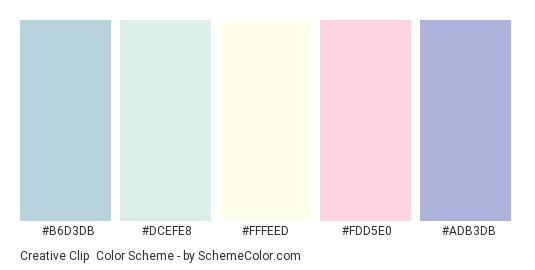 Creative Clip - Color scheme palette thumbnail - #B6D3DB #DCEFE8 #FFFEED #FDD5E0 #ADB3DB