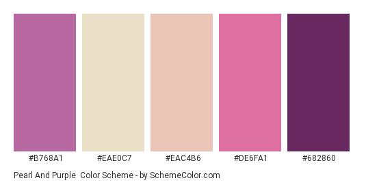 Pearl and Purple - Color scheme palette thumbnail - #B768A1 #EAE0C7 #EAC4B6 #DE6FA1 #682860