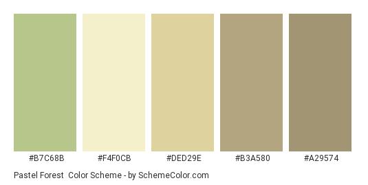Pastel Forest - Color scheme palette thumbnail - #B7C68B #F4F0CB #DED29E #B3A580 #a29574
