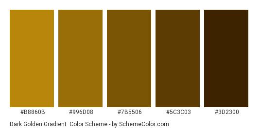 Dark Golden Gradient - Color scheme palette thumbnail - #B8860B #996D08 #7B5506 #5C3C03 #3D2300