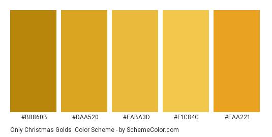 Only Christmas Golds - Color scheme palette thumbnail - #B8860B #DAA520 #EABA3D #F1C84C #EAA221