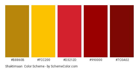 Shaktimaan - Color scheme palette thumbnail - #B8860B #FCC200 #D3212D #990000 #7C0A02