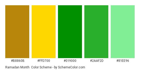 Ramadan Month - Color scheme palette thumbnail - #B8860B #FFD700 #019000 #2AAF2D #81EE96