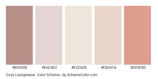 Cozy Loungewear - Color scheme palette thumbnail - #B89088 #E6D4D2 #ECE6DB #E8D6CA #DD9E8D