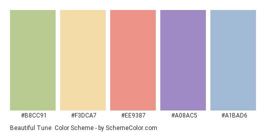 Beautiful Tune - Color scheme palette thumbnail - #B8CC91 #F3DCA7 #EE9387 #a08ac5 #a1bad6