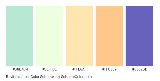 Revitalisation - Color scheme palette thumbnail - #B8E7D4 #EEFFDE #FFE6AF #FFC889 #6862BD