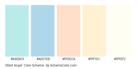 Silent Angel - Color scheme palette thumbnail - #B8EBE9 #AED7EB #FFDECA #FFF1D1 #FFFEF2