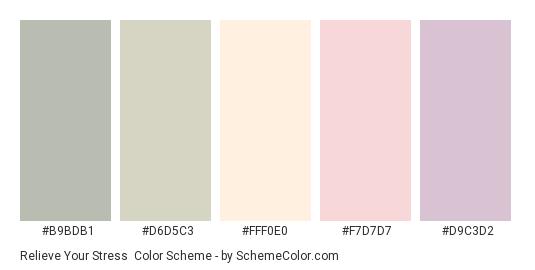 Relieve Your Stress - Color scheme palette thumbnail - #B9BDB1 #D6D5C3 #FFF0E0 #F7D7D7 #D9C3D2