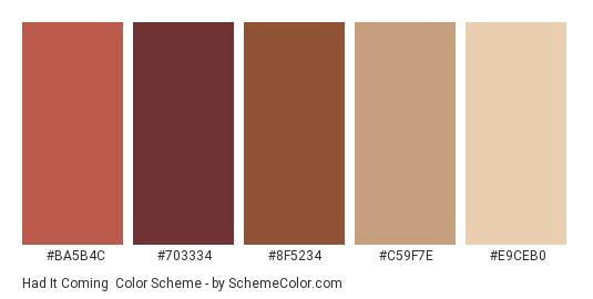 Had it Coming - Color scheme palette thumbnail - #BA5B4C #703334 #8F5234 #C59F7E #E9CEB0