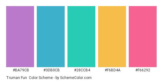 Truman Fun - Color scheme palette thumbnail - #BA79CB #3DB0CB #28CCB4 #F6BD4A #F66292