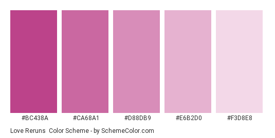 Love Reruns - Color scheme palette thumbnail - #BC438A #CA68A1 #D88DB9 #E6B2D0 #F3D8E8