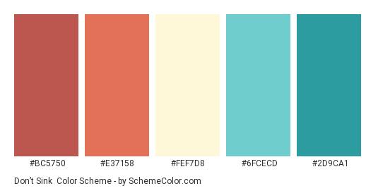 Don't Sink - Color scheme palette thumbnail - #BC5750 #E37158 #FEF7D8 #6FCECD #2D9CA1
