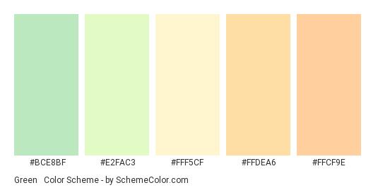 Green & Orange Pastels - Color scheme palette thumbnail - #BCE8BF #E2FAC3 #FFF5CF #FFDEA6 #FFCF9E